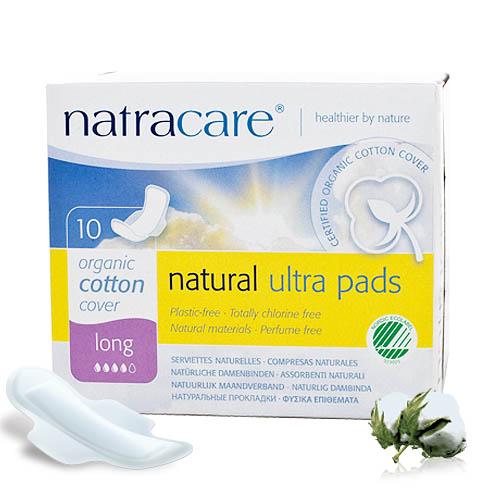 Natracare 有機衛生巾超薄護翼-夜用10片